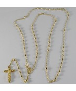 18K YELLOW GOLD ROSARY NECKLACE MIRACULOUS MARY MEDAL & JESUS CROSS ITAL... - $949.05