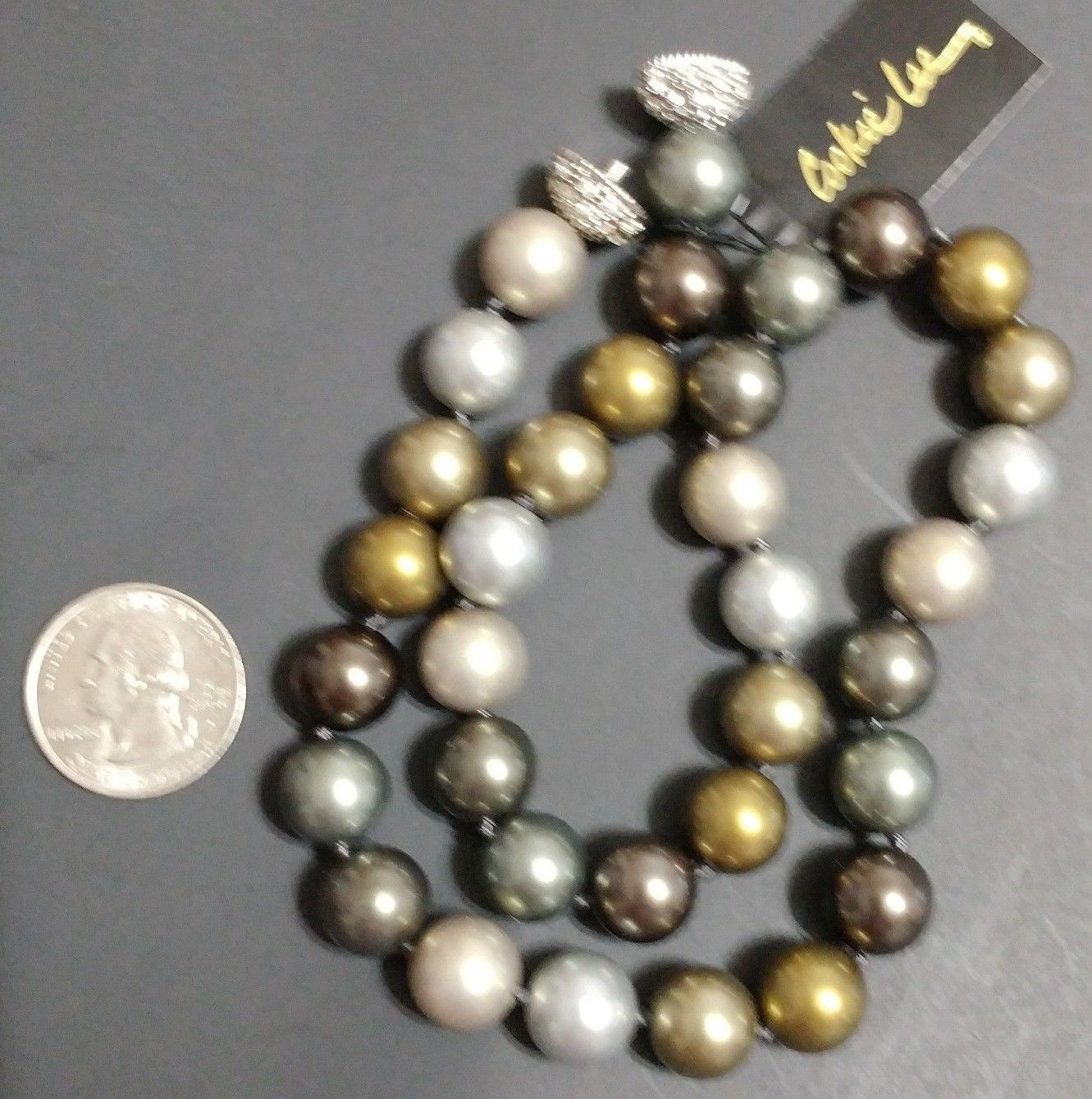 """Cookie Lee Necklace Genuine Crystal Hand Knotted NWT 18"""""""