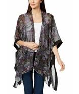 Steve Madden Women's Floral-Print Kimono Cape (Black, One Size) - $48.00