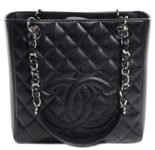 AUTHENTIC CHANEL QUILTED CAVIAR PST PETITE SHOPPING TOTE BAG BLACK SHW R... - $2,499.00