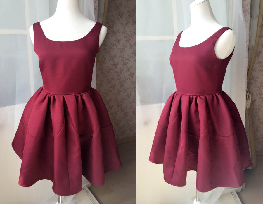 Dressromantic Sleeveless Thick Fit and Flare Dress- burgundy,petite