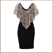 Leopard Print Ruffled Sheer Chiffon Collar Sleeveless Black Pencil Mini Dress image 2