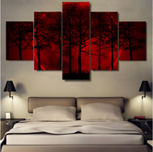 Framed 5 Piece Red Moon Night Forest Tree HD Poster Canvas Wall Art Home... - $78.95+