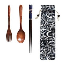 Creative Japanese-style Wood Chopsticks Spoon Set Outdoor Adult Portable,A2 - $11.73