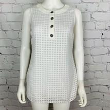 St John Boutiques Women's Blouse P White Sheer Geometric Sleeveless - $79.48