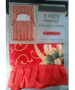 "3 pc Printed Curtains Set: 2 Tiers & Swag (60""x36""),CHRISTMAS FLOWERS, A... - $15.83"