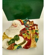 Fitz And Floyd Classics Holiday Solstice Canape Plate Santa 3D - $29.99