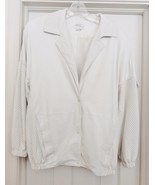 VAKKO USA Leather Jacket Coat Perforated Retro Oversize Lined WHITE Wome... - $79.95