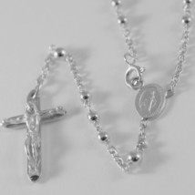 18K WHITE GOLD ROSARY NECKLACE MIRACULOUS MARY MEDAL & JESUS CROSS MADE IN ITALY image 2
