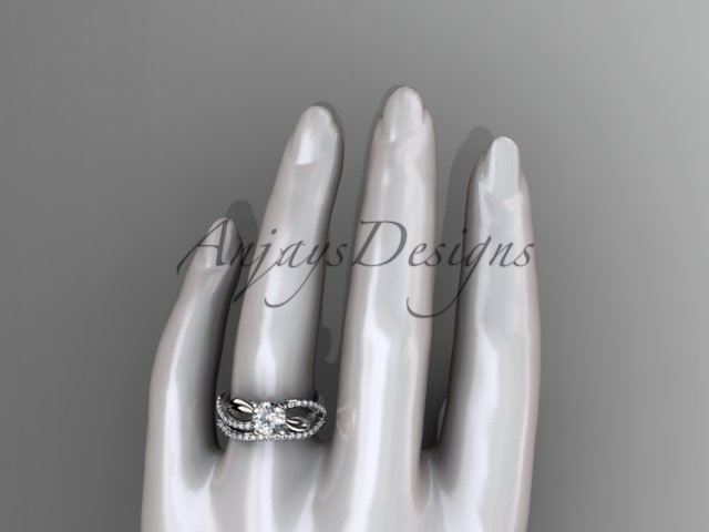 Nature inspired engagement ring, 14kt white gold diamond leaf and flower wedding