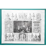 MYTHOLOGY Idols India Hindu Mongolia Tibet Lama Funeral - 1844 Superb Print - $21.60
