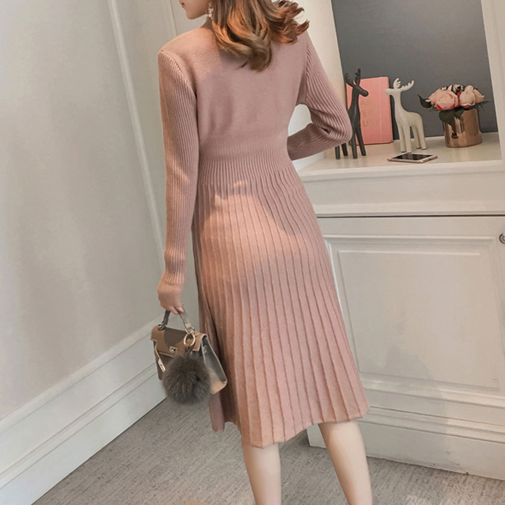 Maternity's Aline Dress Slim Long Sleeve Solid Color Dress image 5