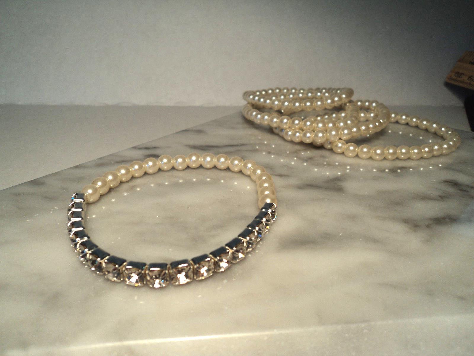 Avon Pretty Pearlesque and Rhinestone Stretch Bracelet Set New 2011 image 3