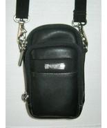 Kenneth Cole Reaction Black Leather Camera Case Shoulder Strap Storage P... - $14.80