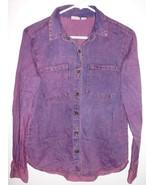 MUDD Shirt SMALL Button Front 100% Cotton Mottled Purple Long Sleeve Wom... - $15.14
