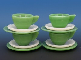 Vintage Akro Agate Jadeite Milk Glass Concentric Ring Teacup Saucer Plate 12pcs