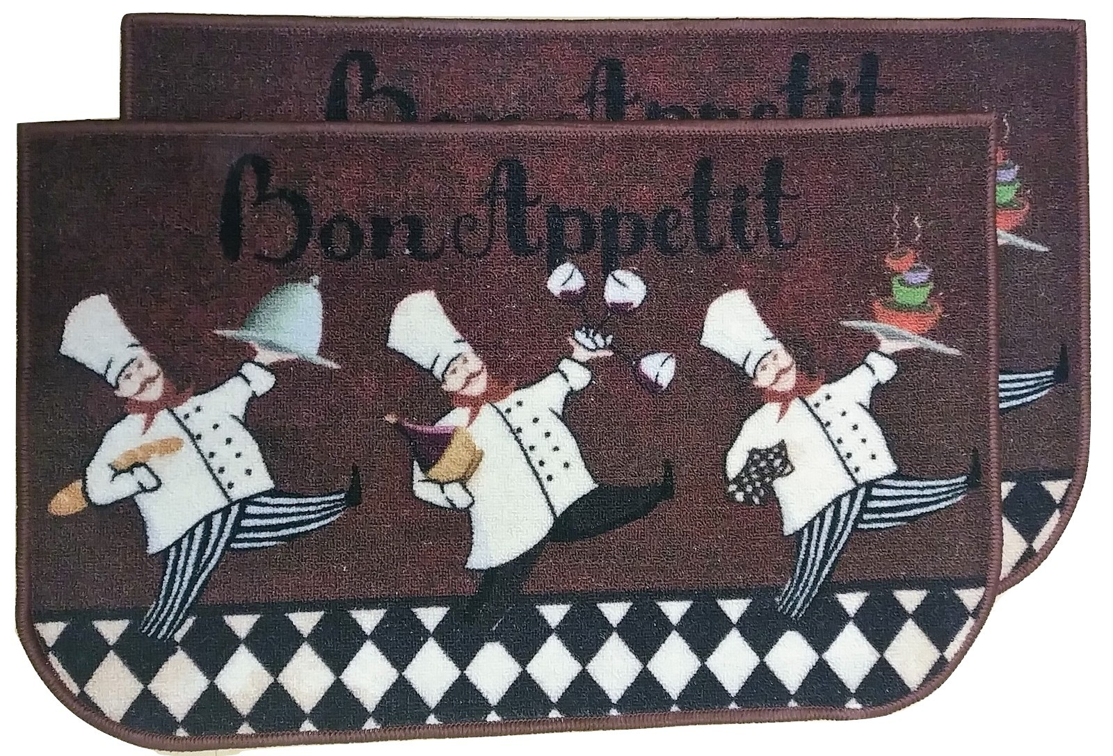 KITCHEN MATS SET 2pc Three Fat Chef Cook Wine Cafe Brown 18x28 Nylon Non-Skid