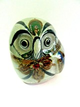CUTE PUFFY OWL CERAMIC MEXICO POTTERY GRAY - $17.00
