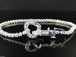 Exquisite Heart Design White Diamond Accents Tennis Bracelet In Solid 92... - $229.99