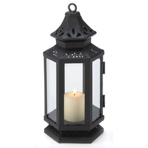 Metal Candle Lantern, Black Iron Stagecoach Decorative Lanterns For Candles - $30.51