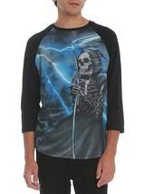 RUDE Men's Grim Reaper Raglan Shirt Skeleton Lightening  M, L ,XL, 2XL ,... - $10.00