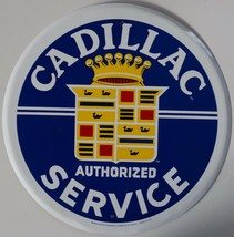 Cadillac Authorized Service Logo Round Metal Sign - $14.95
