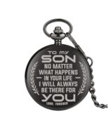 "Accept Customized ""To My Son"" Engraved Greeting Quartz Pocket Watch Retro - $13.50+"