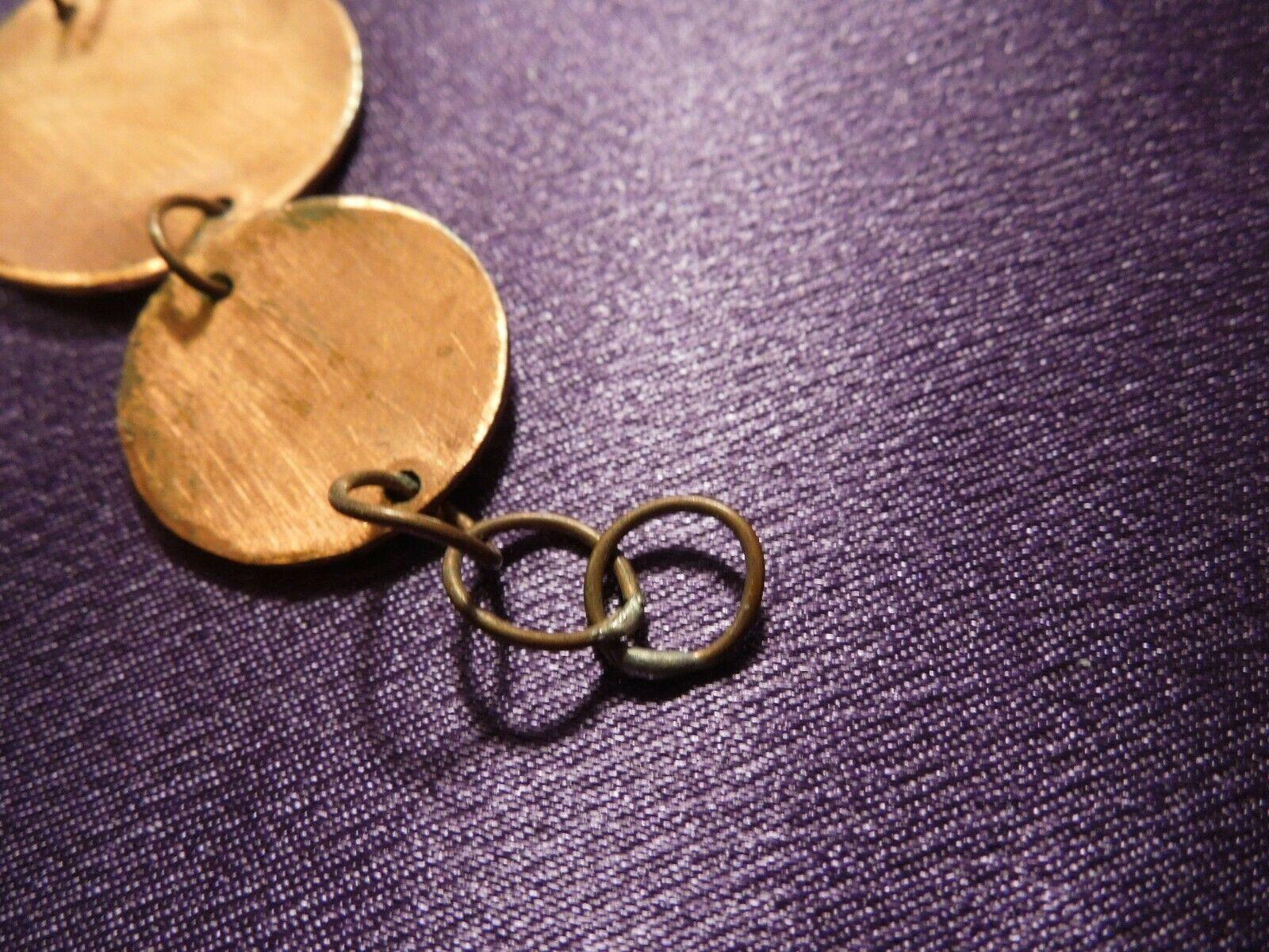 Vintage Enamel Modernist Art Copper Link Bracelet & Screw Back Earrings Set