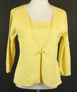 COLDWATER CREEK Size M Yellow Silk Blend Layered Look Sweater Top - $13.99