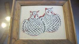NAVAJO GLAZED OWL PUEBLO POTTERY SAND ART FRAMED - $24.25