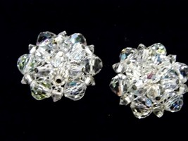 Vintage Clear Carnival Glass Bead Clip On Earrings Costume Fashion Jewelry - $10.66