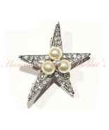 Star Pin Faux Pearls Brooch Clear Crystal Celestial Theme Silver Tone Metal - $21.99