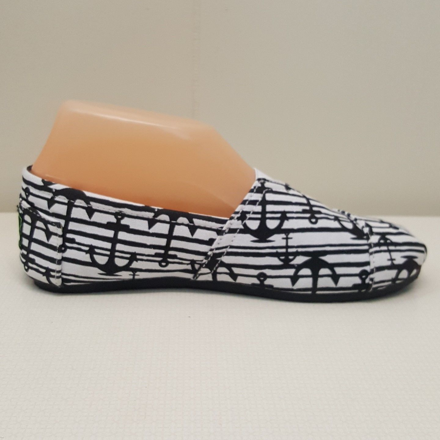 Dawgs 7 Loafers Flats Canvas Boat Shoes Espradille Black White Anchors Nautical
