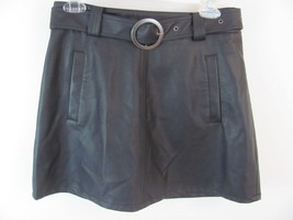 Forever 21 Womens Skirt Size 28 Black Faux Leather A Line Above Knee w B... - $13.99