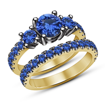 Round Cut Blue Sapphire Yellow Gold Finish 925 Silver Bridal Ring Set Fo... - $92.99