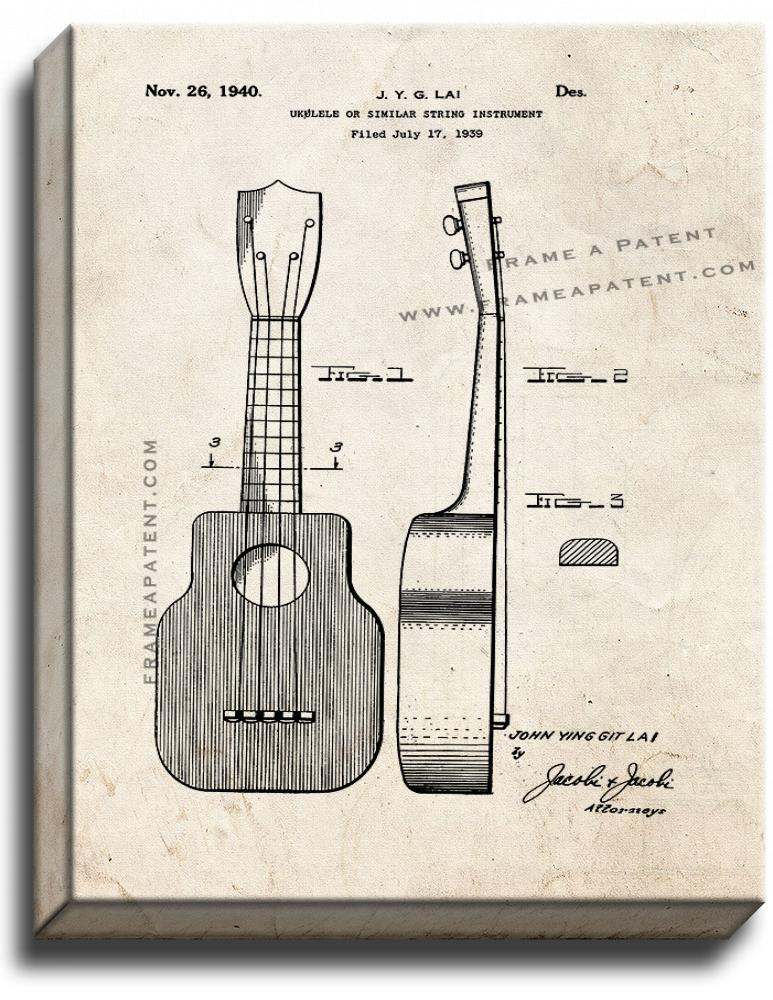 Primary image for Ukulele Patent Print Old Look on Canvas
