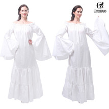 Renaissance Medieval Costume Womens Classic Long Chemise Ruffle Tiered D... - $33.99