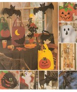 Halloween Decor Skeleton Leaf Treat Bags Bats Spiders Centerpiece Sew Pa... - $13.99