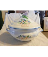 White Ceramic with Colored Flowers Soup Tureen from Macy's Made in Italy - $111.38
