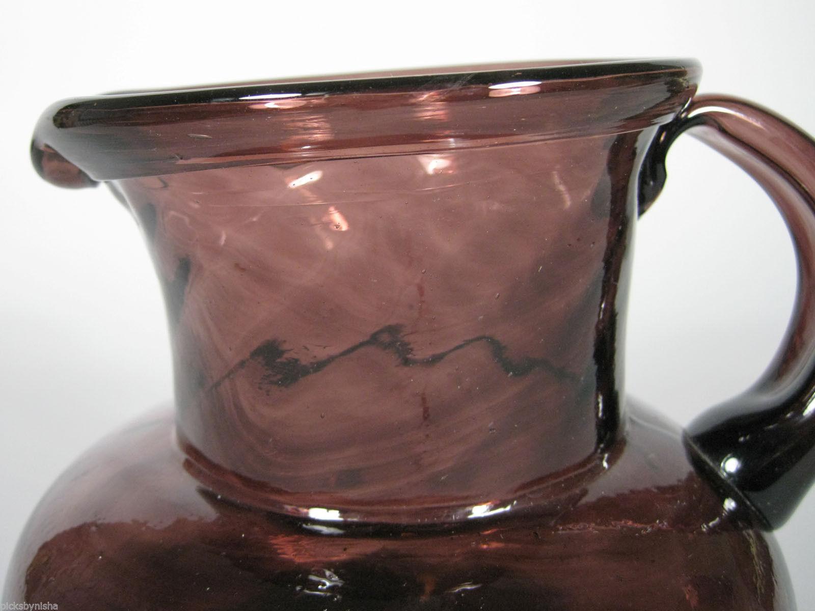 Glass Pitcher Clear Purple Hand Blown Pontil Swirl Spiral Handle Vintage Decor