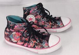 Converse All Star Youth 1 Chuck Taylor Black Roses Polka Dot High Top La... - $21.32