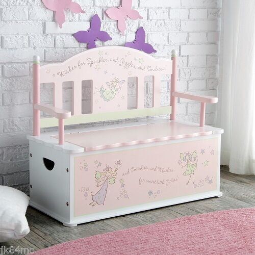 Pink Fairy Wishes Bench Seat With Storage Toy Box Seating: Kids Storage Bench FAIRY WISHES Theme Pretend Discovery