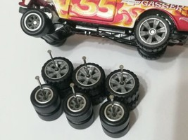 REAL RIDERS WHEELS RUBBER TIRES 55 CHEVY GASSER 3 SETS 1/64 HOT WHEELS GREY - $19.90