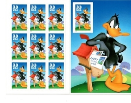 1999, Daffy Duck, Looney Tunes, Full Sheet, USPS 33 Cent Stamp - $9.00