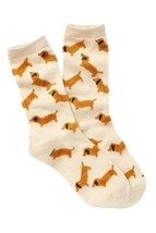 Oatmeal Women's Crew Socks with Fuzzy Red Dachshunds - $10.70