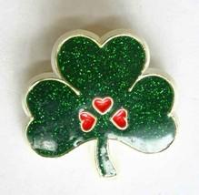 """Hallmark Green Glitter & Red Hearts Shamrock Clover Brooch 1980s vintage 1 1/2"""" - $12.30"""