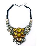 "Joan Rivers Yellow Crystal Mosaic 18"" Bib Necklace w/3"" Extender NEW Jew... - $39.99"
