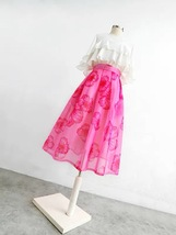 Summer Pink Floral Midi Party Skirt Outfit Organza Plus Size Midi Skirt Pockets image 3