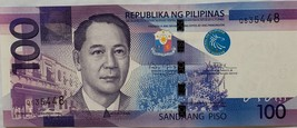 Philippine One Hundred Peso 2010 Bank Note Q535448 Manuel A Roxas, uncir... - $6.95