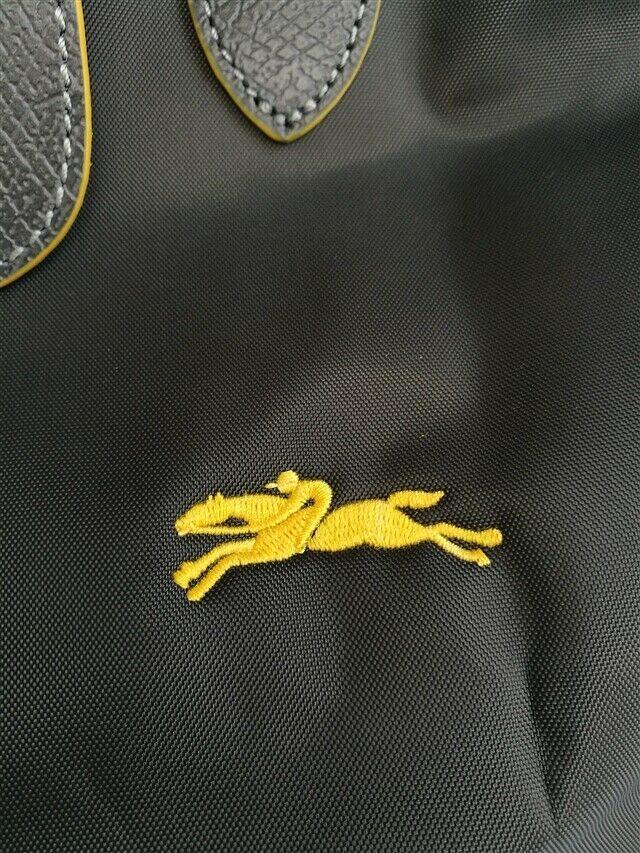 Auth Longchamp Le Pliage Graphite Nylon Large Tote Bag Leather Strap Handles